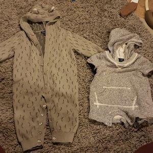 Baby gap sweater hood onsie romper